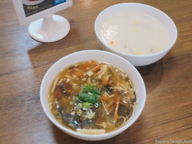 Hot and sour soup and Corn Chowder
